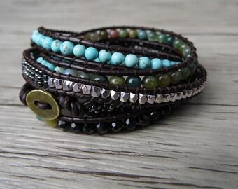 Leather wrap bracelet Agate bead bracelet women Gemstone bracelet bead wrap bracelet boho bead bracelet Yoga bracelet cuff bracelet SL-0169