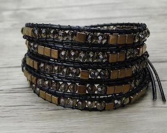 Leather wrap bracelet Boho bead bracelet Smoky quartz bead bracelet Gypsy leather bracelet Gemstone bracelet hematite bead bracelet SL-0323