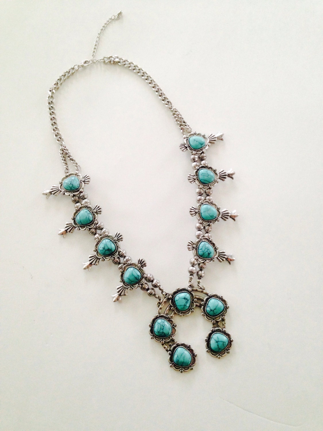 faux turquoise squash blossom necklace by fashnvictmboutique