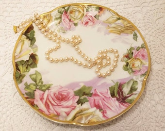 SALE! Vintage J & C Louise Bavaria Hand Painted Rose Plate Decorative