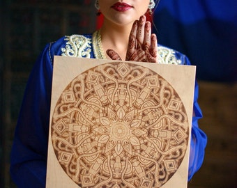 Mandala Pyrography Art, Spiritual Pyrography, Hypnotizing Wall Art For Meditation, Wood Burned Birthday Gift, Gift for Him, Gift for Her