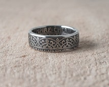 Coin Ring, double sided coin ring, Moroccan 25 Centimes 1924 year, artisan coin ring, coin jewelry, 3-D coin ring, mans accessories