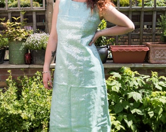 FREE UK DELIVERY 60s Blue and Silver Maxi Gown