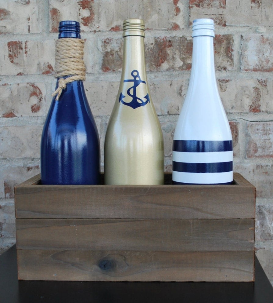 Nautical Decor Centerpieces: Nautical Wood Wine Bottle Centerpiece House Warming Gift