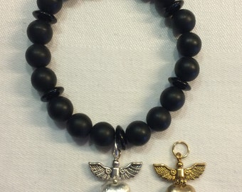 Bracelet black gold plated for BON JOVI Fans Heart & dagger beads and silver plated