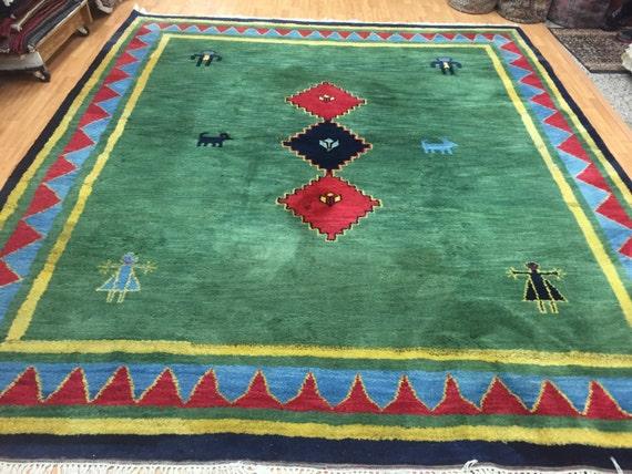 "8'7"" x 9'10"" Indian Gabbeh Oriental Rug - Full Pile - Hand Made - 100% Wool"