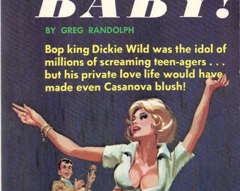 pulp art print Rock Me Baby —  vintage pulp paperback cover repro