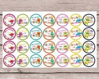56 PERSONALISED TEACHER REWARD Stickers    Little Monsters