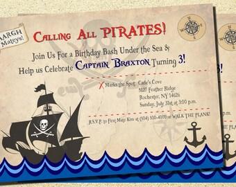 Pirate Party, Pirate Invitations, Pirate Birthday Invitations, Pirate Birthday Party, Pirate Birthday, Pirate Ship, Digital, Printable