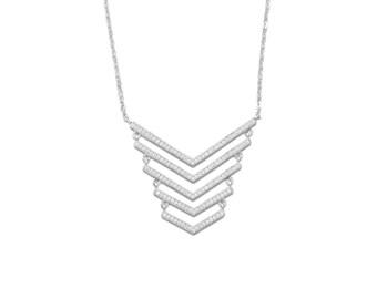 Sterling Silver 5 Row CZ Arrow Necklace