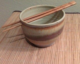 Vintage Stoneware Noodle Bowl With Fancy Carved Chopsticks