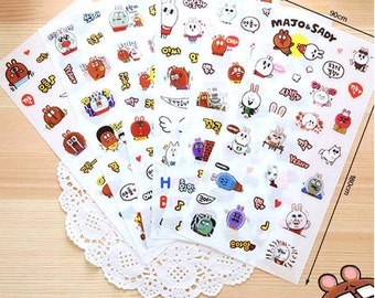 Majo & Sady Planner Stickers (6 sheets) / Cute Stickers / Korean Stationery / Kawaii Stickers / Cute Stationary / Cute Stationery / Planner