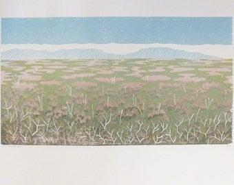 Heather, Stanage Edge, Peak District, Derbyshire – Woodcut, Original Print