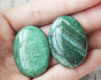 Dark Green Aventurine Oval Pendant 22x30mm One Bead Necklace Pendant Green Pendant ge043