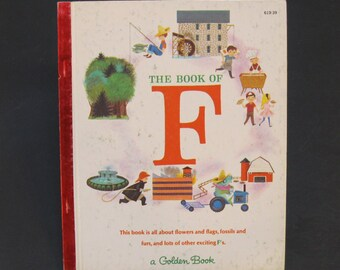 The Book of F   vintage Little Golden Book Jane Werner Watson 1965 alphabet letters DE My First Learning Library Series
