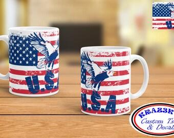 AMERICAN FLAG w/ EAGLE coffee mug - coffee cup - bald eagle - coffee cup  - drinkware - American Flag - United States Flag - usa flag