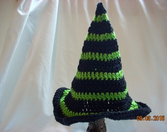 Newborn Witch Hat, Crochet Halloween Hat, Crochet Witch Hat, Costume Hat, Newborn Striped Witch Hat, Baby Photography green and black
