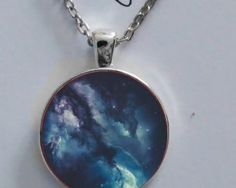 Andromeda galaxy space orion nebula pendant necklace glass