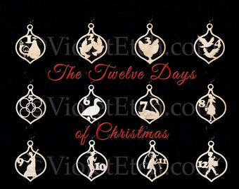 Twelve Days Of Christmas Ornaments-12 Days of Christmas Ornaments-Wood Twelve Days of Christmas Ornament