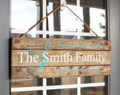Family Established Sign- 5th Wedding Anniversary Gift- Christmas Gift Ideas for Her- Custom Wood Signs for Home- Front Door Decorations