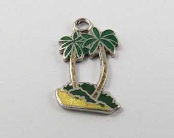 Enameled Green Palm Trees  Sterling Silver Charm of Pendant.
