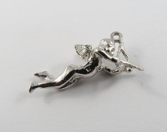 Cupid In The Act Of Shooting Arrow Sterling Silver Charm or Pendant.