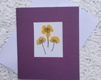 Pressed Flower Card 3- Buttercups