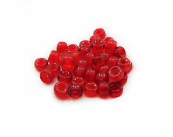 Red Rondelle Beads, Glass Beads, Rondelle Beads, Red Glass Beads, 15 pcs Red Glass Beads, Jewelry Making, Craft Supplies