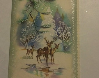 Vintage Lightly Glittered Deer at Icy Stream in Snowy Woods Christmas Greeting Card ~ USED