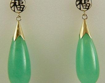 Green 20mm x 8mm Jade Dangle Earring 14k Yellow Gold Post and Push Backs