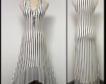 Ultimate Spring Summer High Low Stripes Maxi Dress, Boho, Hip Hop, High Fashion S,M L
