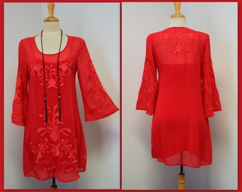 New Dashing and Chic high end  Embroidered 2 PC Tunic and Matching Slip . Boho, Hip Hop