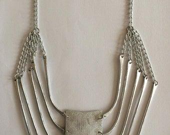 Aluminium Simple Simetric Necklace, Modern Rectangle Necklace