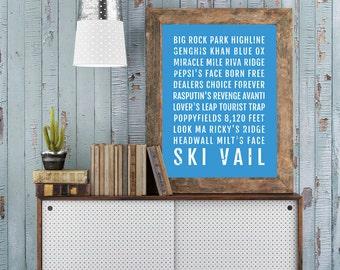 Ski Vail Poster - Colorado Ski And Skiing - Subway Poster, Boyfriend Gift, Husband Gift, Wall Art, Train Scroll, Bus Scroll, Ski Decor