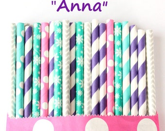 Purple, pink, turquoise and silver snowflake paper straws, set of 25, blue and purple paper straws, purple and teal party straws