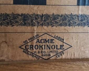 Rare Antique Acme Crokinole board / Checkerboard - wood game board by A.E. Hourd & Co in 1897 London, ON - No prison labor