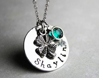 four leaf clover name necklace, four leaf clover necklace, four leaf clover jewelry, st patricks day jewelry, st patricks day necklace