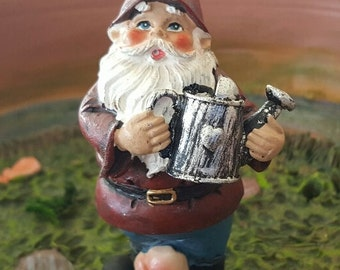 Miniature Happy Gnome with Watering Can