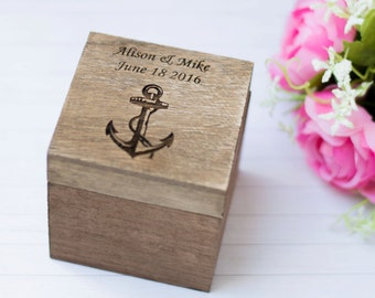 Beach Wedding Ring box Anchor Ring Holder Personalized Ring Bearer Nautical wedding Decoration Seashells Wedding