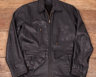 "Mens Vintage 1960's Talon Zips Black Leather Jacket Coat Size M 38"" R2991"