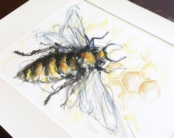 Bee Sketch Watercolour Print, home decor, wall art, office art, drawing, insect, modern art, poster, pen & ink, honeycomb
