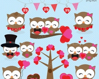 Valentine Clipart, Valentine Owls clipart, Valentine Clip Art, valentines day, Valentine graphics, Valentine Paper, Commercial License