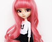 """Wig  9.5"""" for Pullip, Blythe and similar size doll. Pink."""