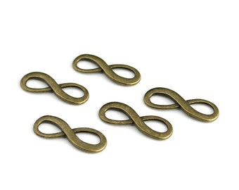 Antique Brass Infinity Pendant Charms - 5 Pieces