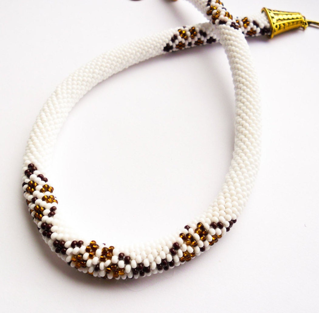 beaded ethnic necklace white brown seed bead rope ukrainian