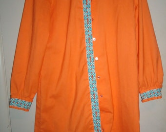Vintage Orange Dress Fritzi of California 1960s Embroidered