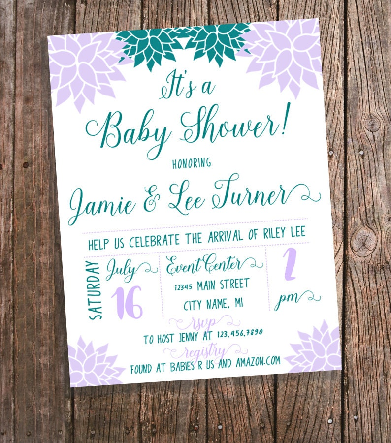 baby shower invitation for a girl purple and teal flowers