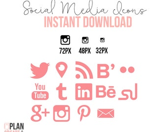 Social Media Icons Shape INSTANT DOWNLOAD Coral Pink