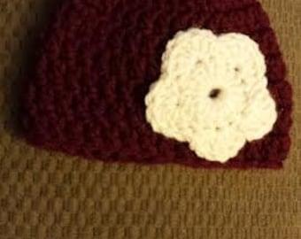 Preemie Maroon Flower Hat