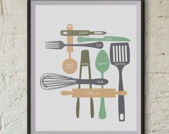 Kitchen Utensils - Digital Print - Mint Plum - 16x20